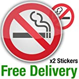 2 x No Smoking Signs (75mm) Stickers clear self-adhesive vinyl car taxi bus windows