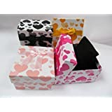 5 x cute hearts square shaped with bow quality jewellery ring necklace bracelet watches gift boxes padded insert - posted from London by Fat-catz