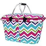 Rainbow Colored Chevron Print Insulated Market Picnic Basket-hotpink