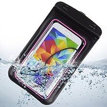 buy Waterproof Pouch Case With Built In Headphone Adapter , Waterproof Earphones For Samsung Galaxy S5 Note 3 Note 2 / Blu Studio 5.5 / Blu 5.0 (Pink)