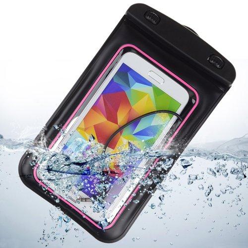 Waterproof Pouch Case With Built In Headphone Adapter , Waterproof Earphones For Samsung Galaxy S5 Note 3 Note 2 / Blu Studio 5.5 / Blu 5.0 (Pink)