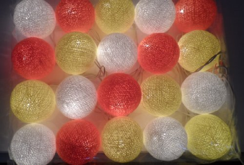 Thai Led Fairy String Light Cotton Mixed Color 20 Balls For Party, Wedding, Christmas Tree And New Year Day 2 Set #10