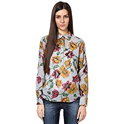 Shibori Women's Printed Shirt(SH1467CO_Grey_Large)