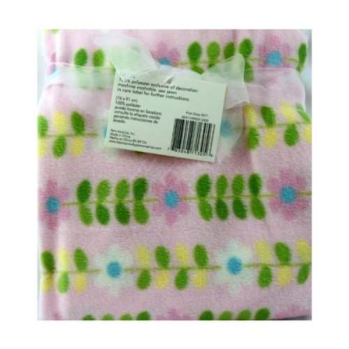 "1 X BABY BLANKET BEANSPROUT PINK DAISY 30""X36"""