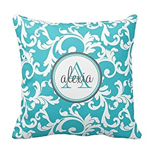 Amazon.com - Decors Aqua Monogrammed Damask Print Tags Throw Pillow Case Cushion Cover Home Sofa ...