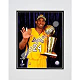 Photo File Kobe Bryant 2010 Nba Finals Game 7 Championship Trophy/5 Fingers In Studio 8X10 Matted Photo