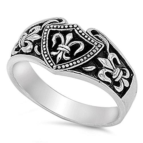 FLEUR DE LIS, VINTAGE, ANTIQUE .925 ITALIAN Sterling Silver Ring (8) (Men Fleur De Lis Ring compare prices)