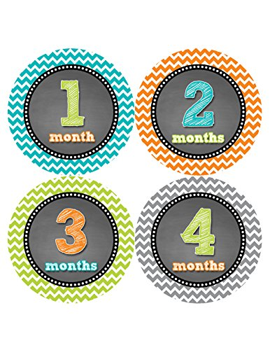 Months in Motion 419 Monthly Baby Stickers Baby Boy Month 1-12 Milestone Age Sticker Photo Prop - 1