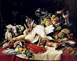 Lucas Schaefels A Still Life With Fruit, Fish, Game And A Goldfish Bowl 25x20