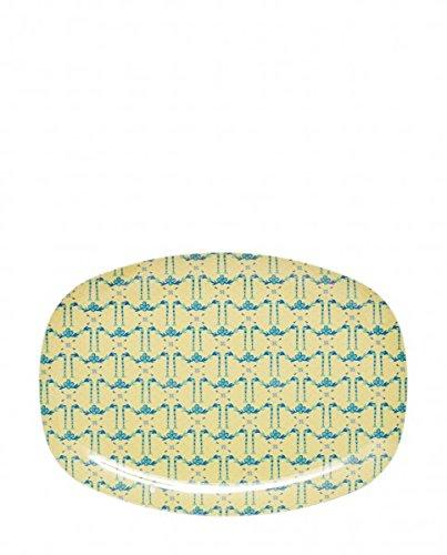 Plateau rectangulaire en mélamine Motif guirlande de fleurs à crème Motif guirlande de fleurs de riz DK