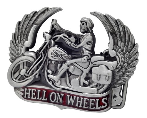 HELL ON WHEELS Skeleton Biker Belt Buckle Rebel Flag Unique Metal New Hip Cool