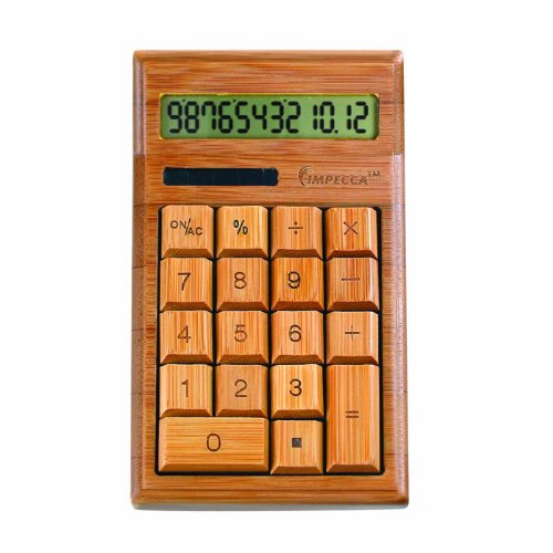 Impecca Bamboo Custom Carved Calculator