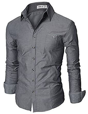 Doublju Mens Casual Patched Dress Shirts GRAY (US-XS)