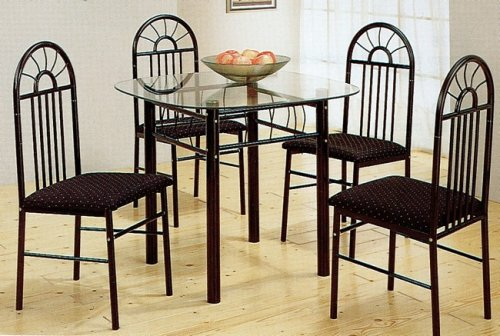 Cheap 5pc Black Metal Glass Top Dining Room Table Chairs Set (VF_695)