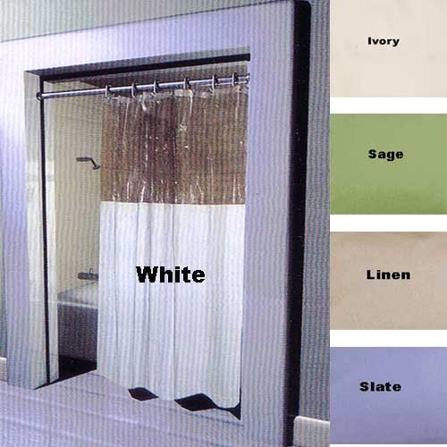 Shower Curtains Ivory Window Vinyl Clear Top Shower