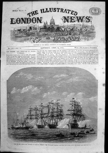 old-original-antique-victorian-print-prince-princess-wales-ireland-squadron-salute-yacht-dublin-1868