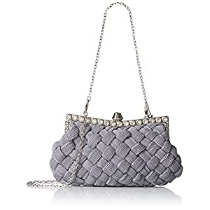BMC Womens Evening Elegant Jeweled Rhinestone Pleated Cocktail Party Handbag-SILVER