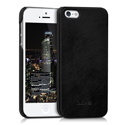 kalibri-Backcover-Hlle-aus-Echtleder-fr-Apple-iPhone-SE-5-5S-in-Schwarz