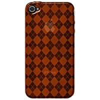 Amzer 88403 Luxe Argyle High Gloss TPU Soft Gel Skinase - Orange For IPhone 4