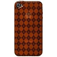 Amzer 88403 Luxe Argyle High Gloss TPU Soft Gel Skinase - Orange For IPhone 4