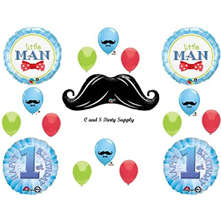 "This listing is for a 17 piece Little Man 1st Birthday balloon decorating kit!  Such cute decorations for your party!!You will receive with this kit:<br /> One (1) 42""  XL  Black Mustache mylar shape balloon.Two (2) 18"" Little Man round mylar bal..."