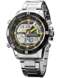 New SHARK Digital Alarm Day Date Stainless Mens Sport Wrist Watch Yellow Dial SH048