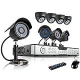 Sistema de cámaras de vigilancia ZMODO CCTV con 16 canales y 8 cámaras para interiores y exteriores de 600TVL de alta resolución sin disco duro