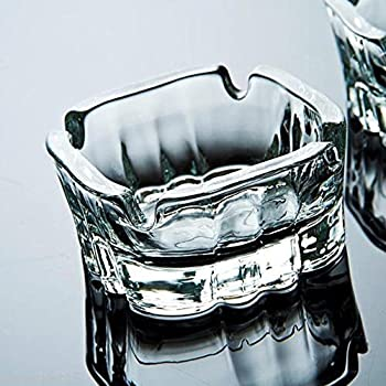 LAV Karina series Pack of 2 Square Clear Glass Ashtray 4 slot Cigar & Cigarette (small)