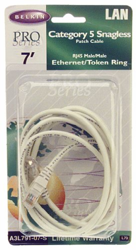 Belkin A3L791-S 7-Foot RJ45 CAT 5e Snagless Molded Patch Cable (Gray)