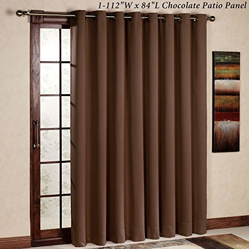 RHF Thermal Insulated Blackout Patio door Curtain Panel, Sliding door curtains, Wide curtains: 100W by 84L Inches-Chocolate (Blackout Curtains For Patio Doors compare prices)