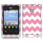 NextKin Hard Shell Protective Snap-On Case Cover For LG Optimus Logic L35g Dynamic L38c, Pink/ White Zig Zag