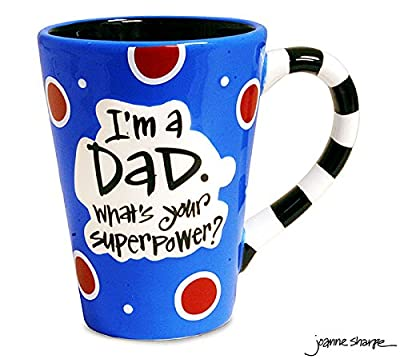 """12 Oz Dad Coffee Mug with """"I'm A Dad, What's Your Super Power?"""" Great Gift"""