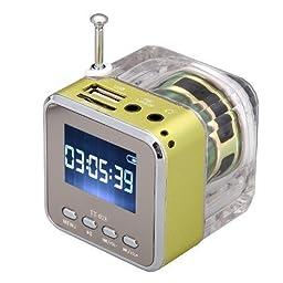 MeGooDo Mini Digital Portable Music MP3/4 Player Micro SD/TF USB Disk Speaker FM Radio Green