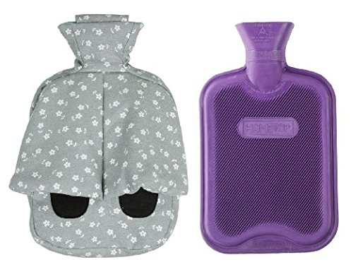 HomeTop Foot Warmer With Classic 2L Rubber Hot Water Bottle And Cotton & Linen Blended Cover (2 Liters, Grey Cover / Purple Bottle) (Hot Water Foot Warmer compare prices)