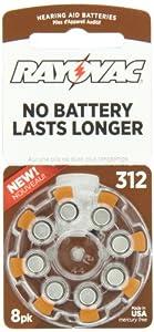 Rayovac Mercury Free Hearing Aid Batteries, Size 312, 8-Pack (L312ZA-8ZM)