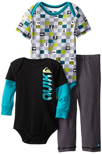 Quiksilver Baby-Boys Infant Twofer Black Teal Printed Short Sleeve Bodysuit With Pull On Pants, Multi, 12 Months front-980073