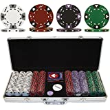 Trademark Poker 500 14-Gram 3 Color Ace-King Suited Poker Chip Set with Aluminum Case
