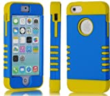 "myLife (TM) True Yellow and Electric Blue - Titan Shield Series (Neo Hypergrip Flex Gel) 3 Piece Case for iPhone 5/5S (5G) 5th Generation iTouch Smartphone by Apple (External 2 Piece Fitted On Hard Rubberized Plates + Internal Soft Silicone Easy Grip Bumper Gel + Lifetime Warranty + Sealed Inside myLife Authorized Packaging) ""Attention: This case comes grip easy smooth silicone that slides in to your pocket easily yet won"