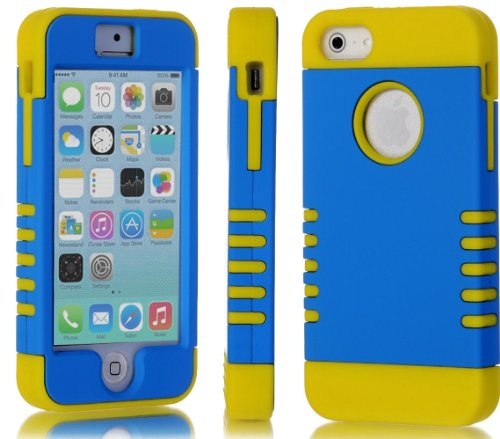 Mylife (Tm) True Yellow And Electric Blue - Titan Shield Series (Neo Hypergrip Flex Gel) 3 Piece Case For Iphone 5/5S (5G) 5Th Generation Itouch Smartphone By Apple (External 2 Piece Fitted On Hard Rubberized Plates + Internal Soft Silicone Easy Grip Bump