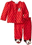 Disney Baby Girls Newborn Minnie Mouse Jacket and Footed Pant Set, Red, 6-9 Months