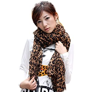 Star Favorite Coffee Oversized Leopard Scarf 65""