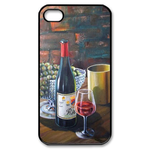 Popular Red Wine Oil Painting New Style Durable Iphone 4,4s Case Hard iPhone Cover Case