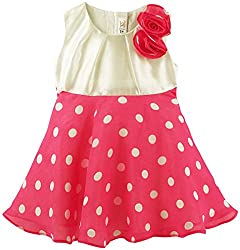 Polka Dot Printed Sleeveless Dress with Rose Embellishment - Multi Coloured (0-6 Months)