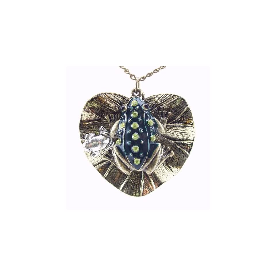 DaisyJewel Enchanted Frog Prince Fairytale Pendant Necklace   Solid Heart Shaped Lily Pad with Detailed Enamel and Crystal Encrusted 3D Green Frog and Small Silver Baby Frog   Beautiful Vintage Patina Gives a Classic Heirloom Look and Feel