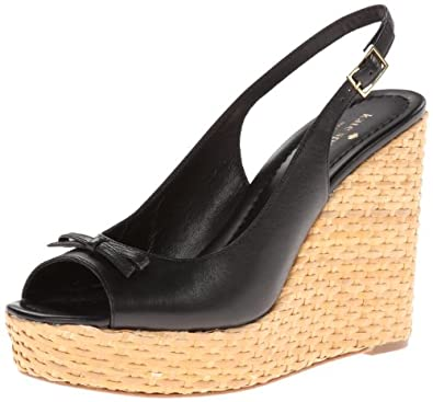 kate spade new york Women's Della Wedge Sandal,Black,9.5 M US