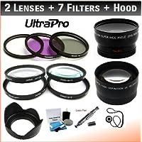 UltraPro 37mm Essential Lens + Filter Bundle, Includes 2x Telephoto Lens + 0.45x HD Wide Angle Lens W/Macro +... - B00B8WZCYS