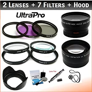 NEW 52mm Essential Lens + Filter Bundle, Includes 2x Telephoto Lens + 0.45x HD Wide Angle Lens w/Macro + 3-piece Filter Kit (UV, CPL, FL-D) + 4-Piece Close-Up Filter Kit (+1, +2, +4, +10) + Digital Tulip Lens Hood + Lens Cleaning Pen + Lens Cap Keeper + UltraPro Essential Lens Cleaning Kit. For The Canon EOS 6D, 7D, 60D Digital SLR Cameras Which Has Any Of These (60mm, 50mm 1.8) Canon Lenses.