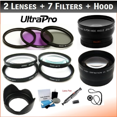 NEW 58mm Essential Lens + Filter Bundle, Includes 2x Telephoto Lens + 0.45x HD Wide Angle Lens w/Macro + 3-piece Filter Kit (UV, CPL, FL-D) + 4-Piece Close-Up Filter Kit (+1, +2, +4, +10) + Digital Tulip Lens Hood + Lens Cleaning Pen + Lens Cap Keeper + UltraPro Essential Lens Cleaning Kit. For The Pentax K-30, K-01, K-5, K-5, K-7, K-R, K-X, 645D Digital Camera Which Has Any Of These (55-300mm, 75-300mm, 18-50mm, 28-80mm, 31mm) Pentax Lenses.