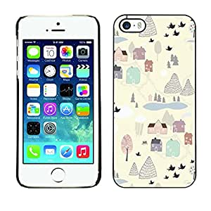 Omega Covers - Snap on Hard Back Case Cover Shell FOR Apple iPhone 5 / 5S - Painting Winter Village White Clean Cartoon