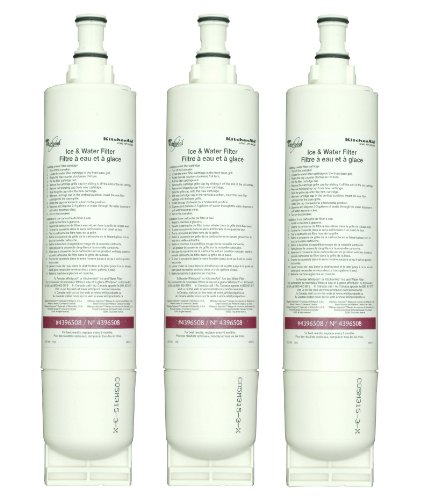Whirlpool 4396510T KitchenAid Quarter Turn, Cyst-Reducing Side-by-Side Refrigerator Water Filter, 3-Pack